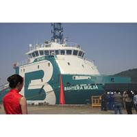 The AHTS Bourbon Liberty 301 (named Bathera Mulia), first vessel of the Bourbon Liberty 300 series during her naming ceremony on March 28th, 2012 at Sinopacific Zhejiang Shipyard. (Copyright: Bourbon)