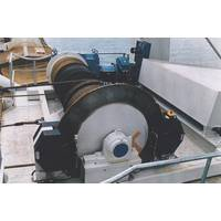 A luffing and trolley travel hoist for bagged material used by two vessel loaders at Lake Charles, Louisiana. The hoists are fitted with Dellner SKP service brakes with mounting stands installed between the hoist motors and the reduction gears. The brakes were also manufactured with extra protection to prevent corrosion from sea water.