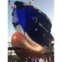 Perla del Caribe, the second of two LNG-fueled Marlin Class ships built by General Dynamics NASSCO for Tote, was launched at NASSCO's yard in San Diego. (Photo: General Dynamics NASSCO)