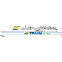 """Rendering of the new """"Green Ship"""" RoPax vessel (image courtesy of TT-Line)"""