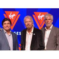 From left to right: Tom McAlpin, Virgin CEO and President; Sir Richard Branson, Founder Virgin; and Stuart Hawkins, Virgin SVP Marine and Technical at the rollout of the new name and logo for Virgin Voyages. (Photo: Wärtsilä)