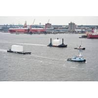 Submarine Modules on Tow: Photo credit HII