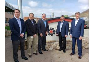 Chief Executive Officer – Tony Capasso (third from left) and Chief Technology and Marketing Officer – Oliver Ferguson (right) of Sea Ready Marine Petroleum met with American Refining Group (ARG) leadership recently at its Bradford, Pa., refinery. Representing ARG were (from left) Vice President – Sales & Marketing John Malone, Vice President – Research and Development David Krantz and President and Chief Operating Officer Jon Giberson.