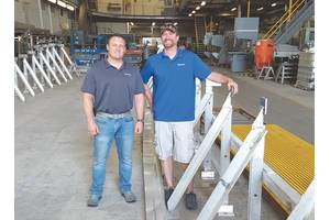 Derecktor Shipyard General Manager Micah Tucker and Project Manager Joe Goodspeed shaping the Keel for the first Harbor Harvest Hybrid.