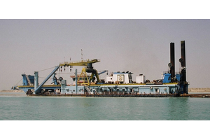 The 89m dredger Al Khatem, operated by NMDC (Photo courtesy of Thordon Bearings)