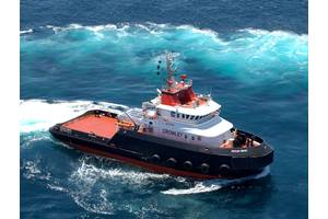 First of the Ocean class tugs, OCEAN WAVE on builders trials prior to delivery to Crowley from Bollinger.