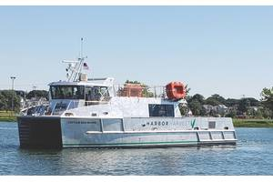 First-of-its-kind cargo vessel Captain Ben Moore delivers local produce and food across Long Island Sound. Built by Derecktor Shipyards, the aluminum catamaran is powered by two Cummins QSB 6.7 diesels, and lithium batteries connected to a pair of BAE Systems HybriDrive electric motors.  (Credit: Harbor Harvest)