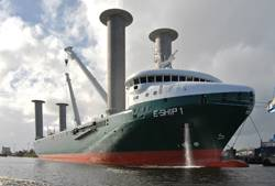 "The futuristic ""E-Ship I"", driven by four Flettner-Rotors for emission reduction reasons, build by Lindenau Shipyard, Kiel and Cassens Shipyard, Emden."