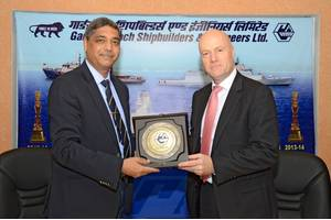 MTU and Garden Reach Shipbuilders & Engineers Ltd. (GRSE) have agreed the final assembly of MTU Series 4000 engines in India. Rear Admiral (ret.) V K Saxena, Chairman and Managing Director at GRSE (left), and Knut Müller, Head of Marine and Government Business at MTU, signed the agreement. (Photo: Rolls-Royce)