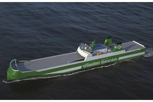 Graphical rendering of the new hybrid RoRo (picture courtesy Finnlines/ Knud E. Hansen)