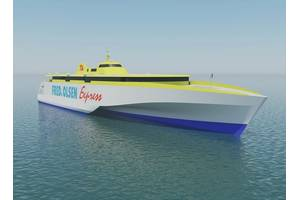 Two new high-speed ferries to be run by Spanish ferry operator Fred. Olsen are each to be powered by four MTU 20-cylinder 8000 M71L engines from Rolls-Royce. The ferries will be 117m trimarans, designed by Austal Australia, and are to ply the waters around the Canary Islands from 2020. (Image: Rolls-Royce Power Systems)