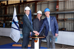 Fincantieri's Vice President of Ship Repair and Conversions Andrew Toso, Shipyard Director Gianni Salvagno and Windstar Cruises' Vice President of Expansion Projects John Gunner in Trieste, Italy (left to right). (Photo: Fincantieri)