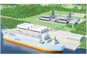 Illustration of small-scale LNG terminal with adjacent gas power plant (copyright: Wärtsilä)