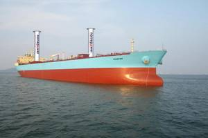 Maersk P-Class Illustration with two 30x5 Norsepower Rotor Sails (Photo: Maersk Tankers / Norsepower)