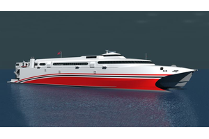The new 100 meters long catamaran ferry, being built by Incat Tasmania for the Trinidad & Tobago Government, will feature the recently introduced Wärtsilä WXJ waterjets. Copyright: Incat.