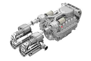 The modular exhaust gas aftertreatment system from MAN Engines is compact and meets the requirements of both the IMO Tier III and US EPA Tier 4 emissions standards. (Photo: © MAN Engines)