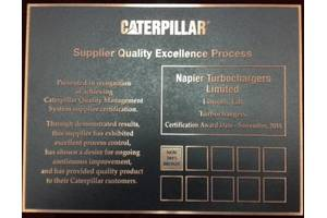 Napier Turbochargers' Caterpillar SQEP Certificate (Photo: Napier Turbochargers)