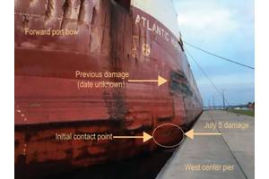 Postaccident photo of the Atlantic Huron alongside the west center pier. Point of contact and damage are indicated by arrows. (Source: US Coast Guard)