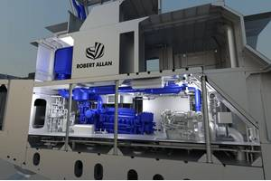 A 3D production model of a Robert Allan Ltd. tug, showcasing a Cat 3516E Tier 4 marine engine with SCR installation. (Image: Robert Allan Ltd.)