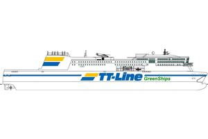 "Rendering of the new ""Green Ship"" RoPax vessel (image courtesy of TT-Line)"