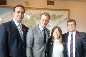 Left to right: Mark Gerretsen, MP for Kingston and the Islands; Leo Postma, Sales Manager, Damen Shipyards Gorinchem; Sophie Kiwala, Member of Provincial Parliament; Mike Bossio, MP of Hastings-Lennox and Addington (Photo: Damen)