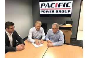 From left to right: Tommi Viiperi, Rolls-Royce, General Manager Waterjets Sales and Marketing, Tor-Gunnar Hovig, Rolls-Royce, Senior Vice President Offshore & Merchant Solutions, Bill Mossey, Vice President of Marine at Pacific Power Group (Photo: Rolls-Royce)