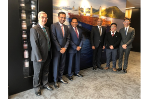 From left to right: William Chan (Purchasing Manager, Pacific Basin), Sarath Prasannan (Managing Director, MAN Hong Kong), Jay K Pillai (Director, Fleet, Pacific Basin), Harsh Bhave (General Manager, Technical, Pacific Basin), Raymond Siu (Head of Sales, MAN Hong Kong), Jason Lai (Senior Sales Account Manager, MAN Hong Kong) Photo: MAN Energy Solutions