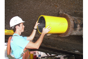 Installation of Thordon's RiverTough water-lubricated bearing (Photo: Thordon Bearings)