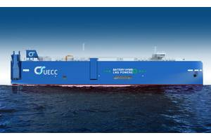 UECC's third LNG-powered pure car and truck carrier (PCTC) will have, in addition, hybrid-battery propulsion technology on board. The ship will be employed on the company's Atlantic short-sea sea trade routes. (Image: UECC)