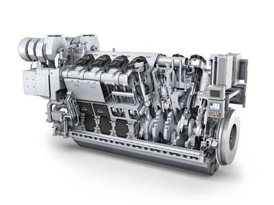 The MAN 32/44CR engine, ordered as a 12V version for Huanghua Port Bureau (Photo: MAN Diesel & Turbo)
