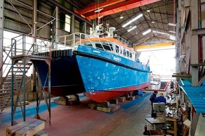 Alicat Catamaran Under Construction: Photo courtesy of Alicat