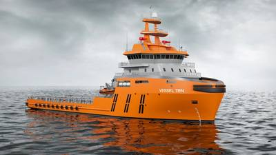 The new anchor handling offshore support vessel designed by Wärtsilä, to be equipped with a Wärtsilä integrated propulsion system