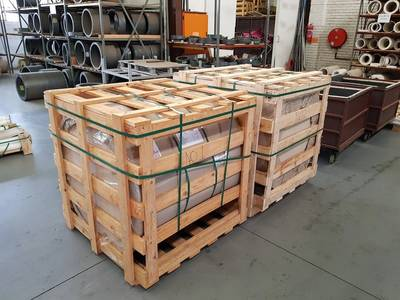 The bearings that were produced, packed in crates (Photo: Vesconite Bearings)