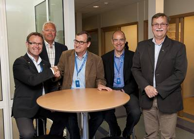 Brunvoll and Steerprop has decided to enter in to a strategic alliance. Here from the two companies meeting and agreement in Molde earlier this summer. From left, Managing Director at Brunvoll, Odd Tore Finnøy, Marketing Director at Brunvoll, Per Olav Løkseth, Managing Director Jarmo Savikurki and Vice President Jasto Tolonen from Steerprop and Technical Director at Brunvoll, Knut Andresen.