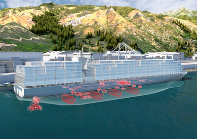 Concept illustration of a large vessel powered by fuel cells. Image credit: ABB