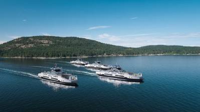 Corvus Energy batteries will be installed on another four of BC Ferries' new Island Class hybrid ferries under construction at Damen Shipyards. (Image: Corvus Energy)