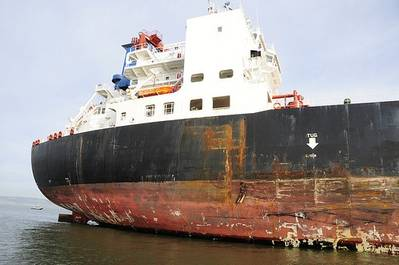 Damage to 'Overseas Reymar': Photo credit USCG