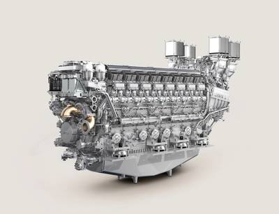 The new MTU 16V 8000 delivers outputs of up to 8000 kW and expands MTU's portfolio not only for naval applications, but in the yacht and ferry segment too.  (Photo: Rolls-Royce)
