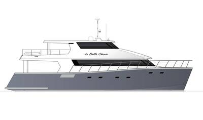 Two MTU 12V 2000 M96X diesels and HamiltonJet HTX52 waterjets have been selected to power the catamaran motor yacht. Image: Dongara Marine