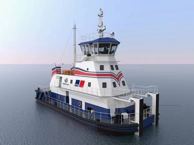 DNV-GL issued an Approval In Principle to Robert Allen Ltd for its shallow-draft pushboat design developed in conjunction with Rolls-Royce, featuring MTU gas engines from Rolls-Royce. (Photo: Rolls-Royce)