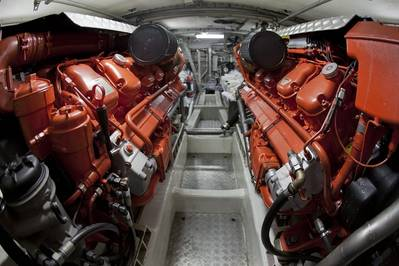 Engine room of a sea rescue boat powered by two Scania 16-liter marine engines, V8. (Photo: Dan Boman)