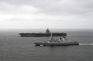 USS Enterprise & HMS Diamond: Photo credit MOD