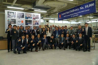 Representatives from Kongsberg Maritime, HHI-EMD, HMD, Solvang and DNV-GL attended the 10,000th AutoChief FAT in Busan on Friday (Photo: Kongsberg)