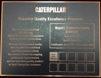 Napier Turbochargers' Caterpillar SQEP Certificate (Photo: Napier Turbochargers)