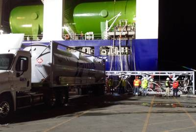file Image: TOTE's new LNG-fueled vessel receives (LNG) bunkers. CREDIT: TOTE