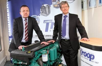 James Troop's Robert Pollock and Derek Bate with Volvo engine (Photo: James Troop)