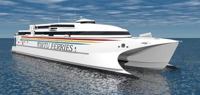 The largest high speed catamaran to operate in the Mediterranean Sea will be powered by Wärtsilä waterjets. (Photo: Wärtsilä)