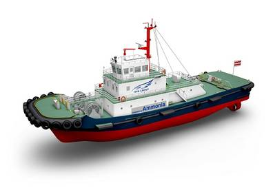 A trio of marine powers in Japan -- NYK, IHI Power Systems Co., Ltd., and ClassNK -- seek to develop the world's first ammonia-fueled tugboat. Image Courtesy NYK, IHI Power Systems, ClassNK