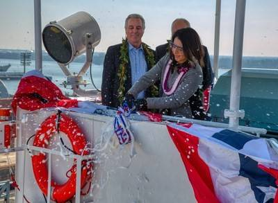 Matson, Inc. and Philly Shipyard, Inc. (PSI) christened the second of two Aloha Class containerships built for Matson in a ceremony at Philly Shipyard on Saturday, March 9.  Photo: Matson & Philly Shipyard