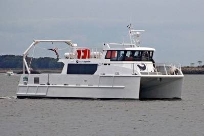 The 19 meter research vessel Spirit of the Sound runs virtually silently on hybrid electric power for 2 hour study cruises on the Long Island Sound